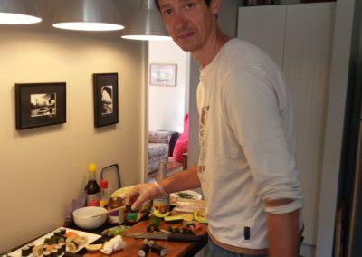 Priprava sushi u domacej v kuchyni